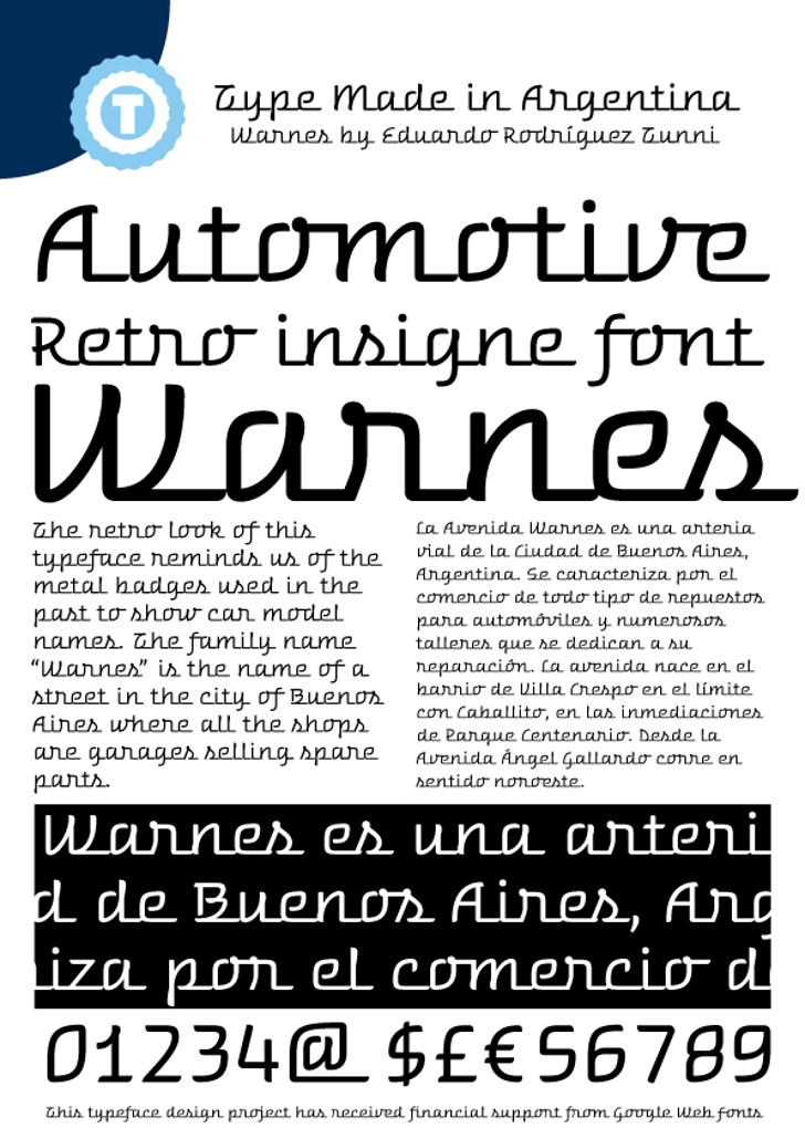 Warnes Font text screenshot