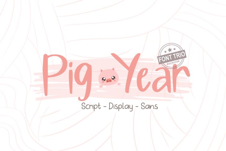 Pig Year Display Font cartoon