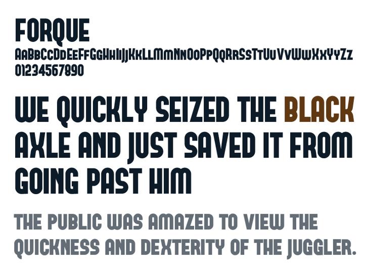 FORQUE Font screenshot design