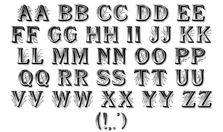 Showboat Font Letters Charmap
