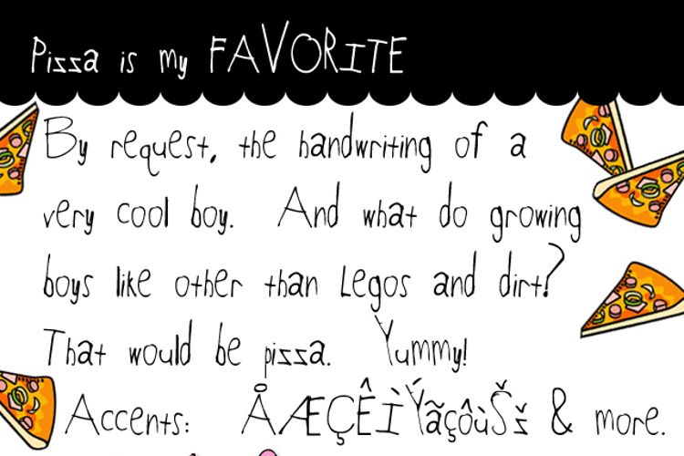 Pizza is my FAVORITE Font