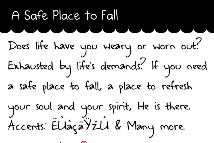 A Safe Place to Fall Font