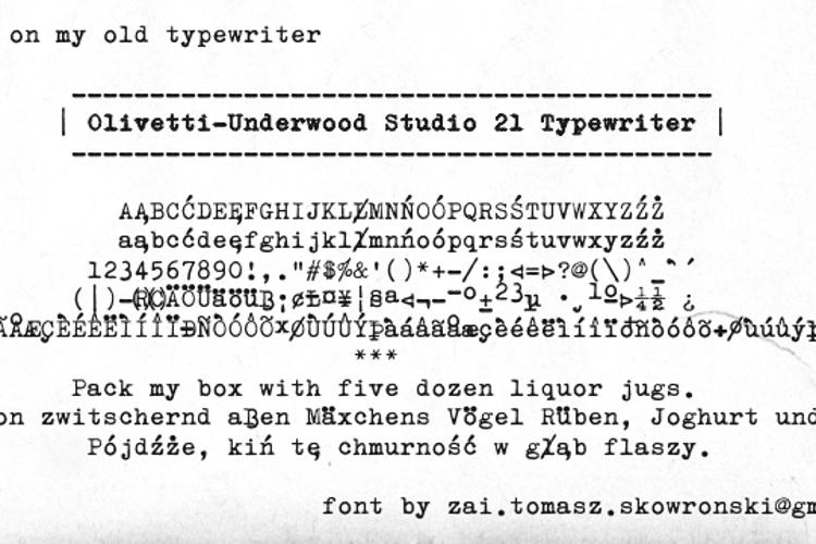 Olivetti-Underwood Studio 21 Typewriter Font