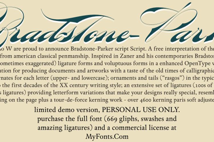 Bradstone-Parker Script Limited Font