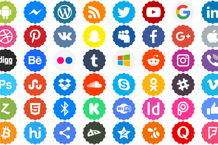Social Networks Color Font
