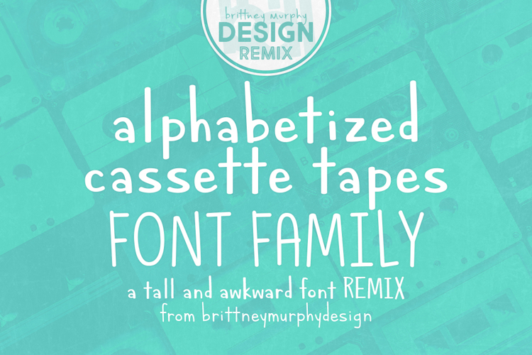 Alphabetized Cassette Tapes Font