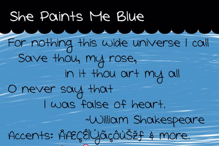 She Paints Me Blue Font