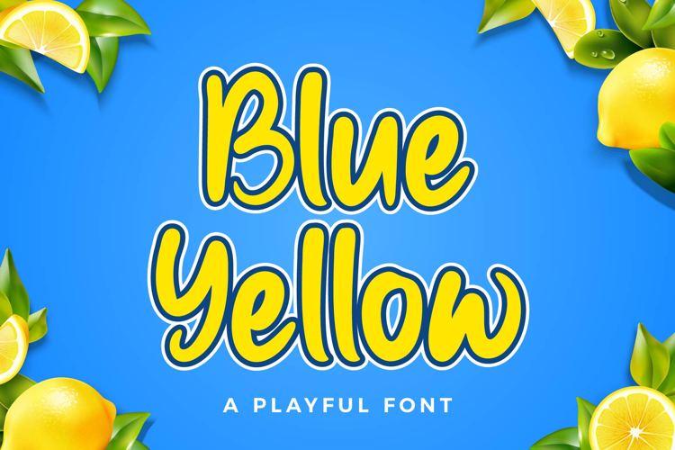 Blue Yellow Font