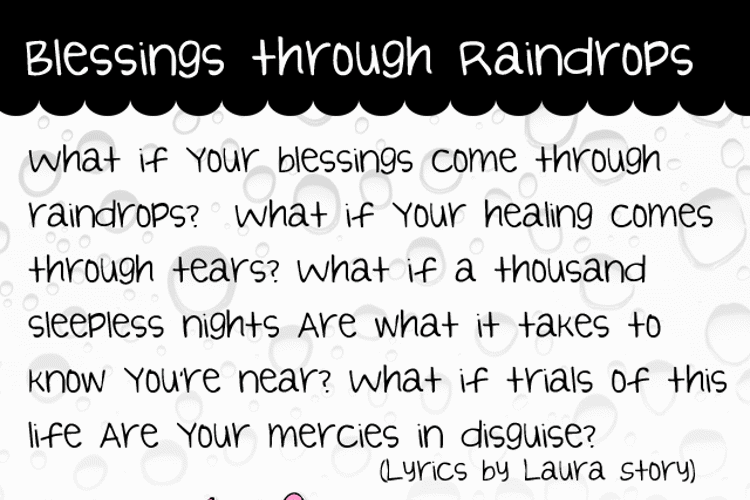 Blessings through Raindrops Font