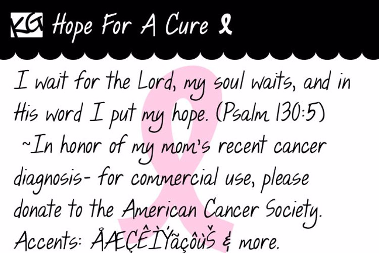 KG Hope For A Cure Font
