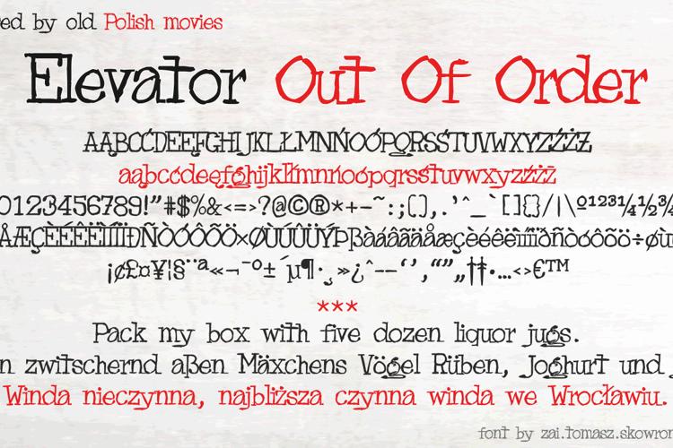 Elevator Out Of Order Font