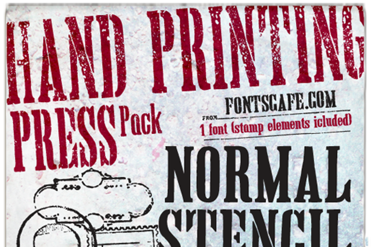 Hand Printing Press Stencil Font