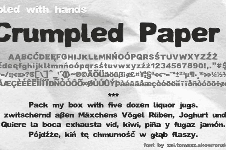 Crumpled Paper Font