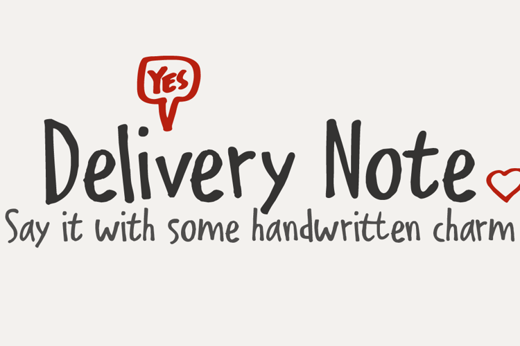 Delivery Note Font