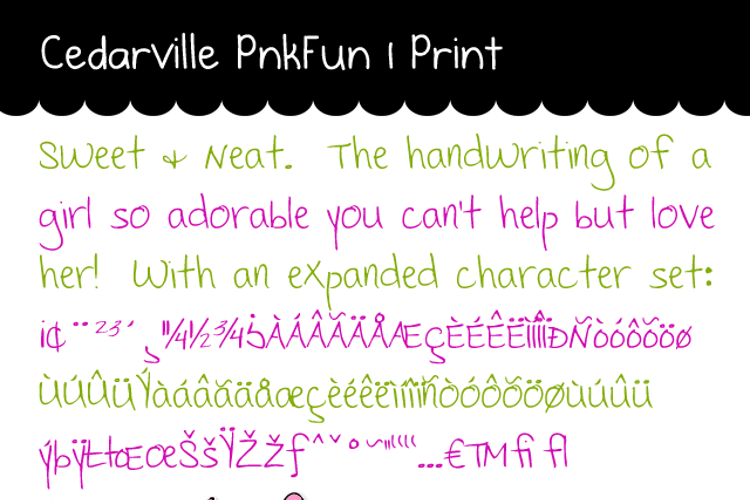 Cedarville Pnkfun 1 Print Font