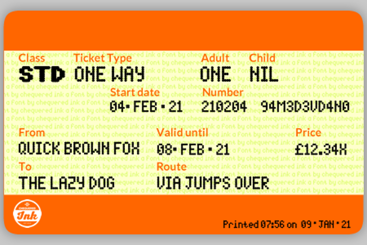 Spotted Rail Ticket Font