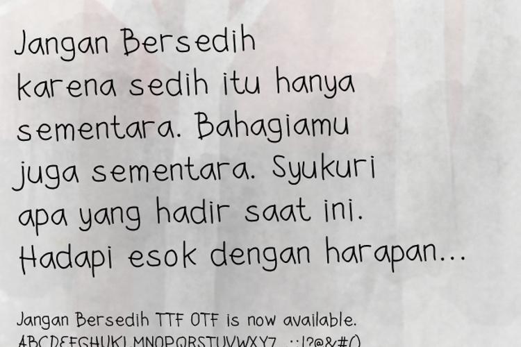 Jangan Bersedih Font