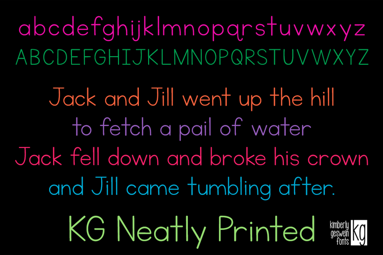 KG Neatly Printed Font