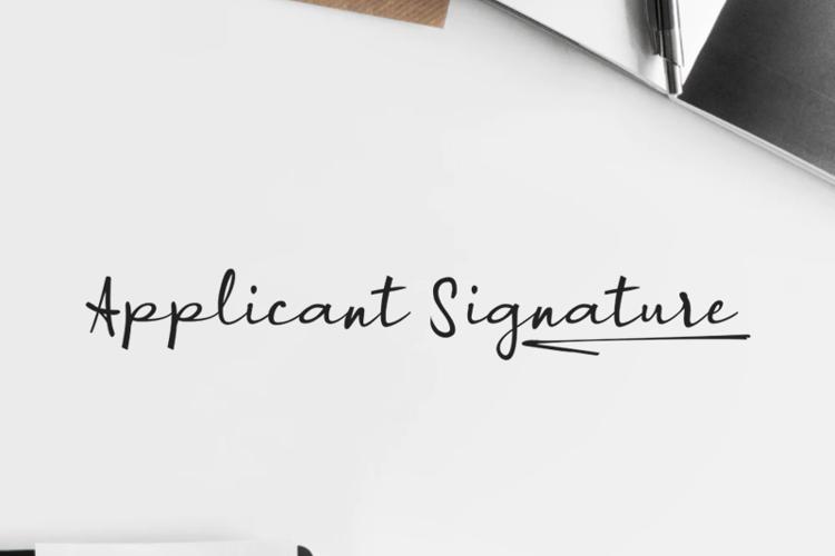 a Applicant Signature Font
