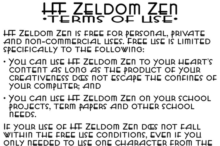 HFF Zeldom Zen Font