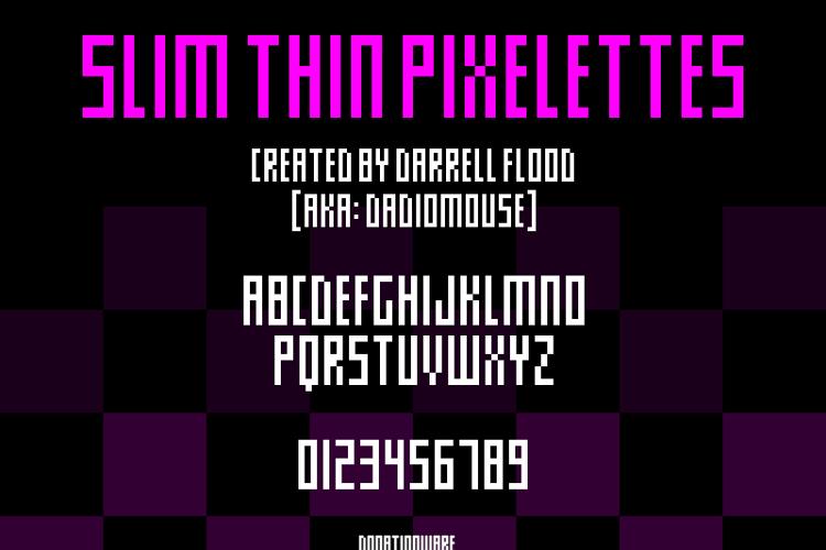 Slim thin pixelettes Font