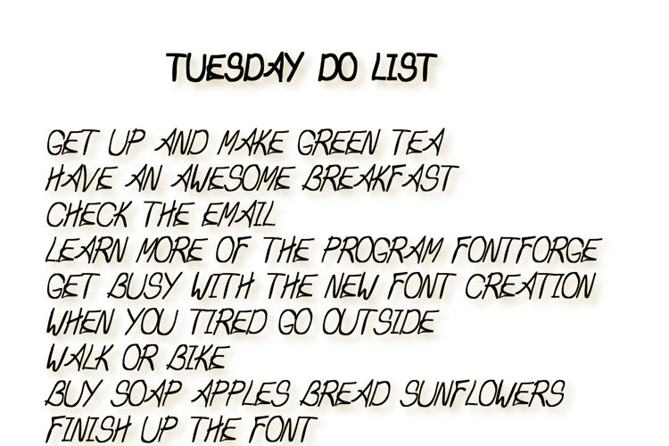 Tuesday Do List Font