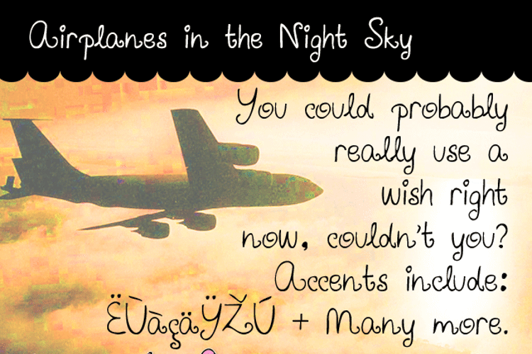 Airplanes in the Night Sky Font