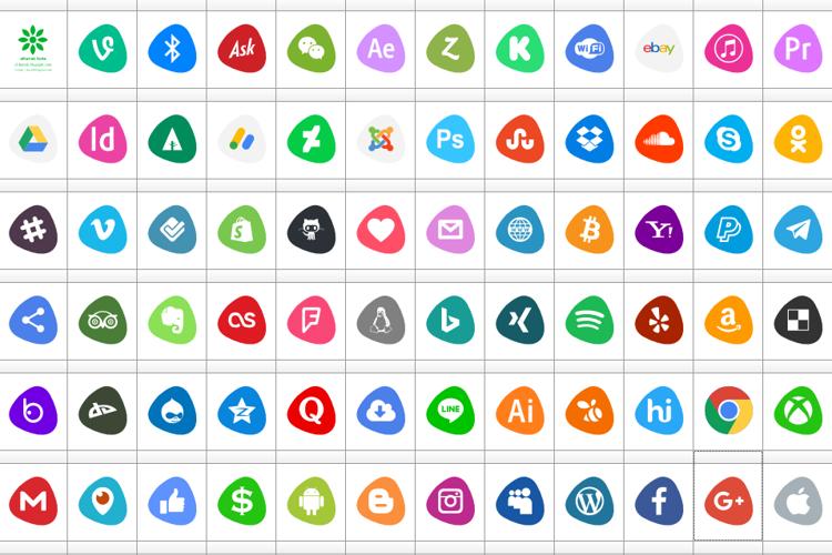 Social Logos Color Font