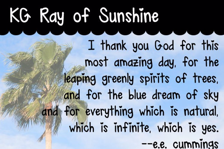 KG Ray of Sunshine Font