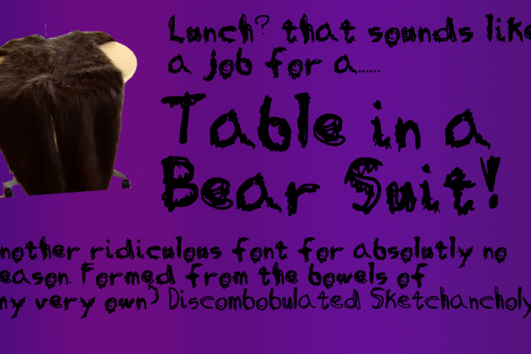 Table in a Bear Suit Font