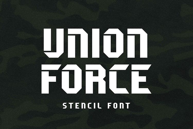 Unione Force Stencil Font