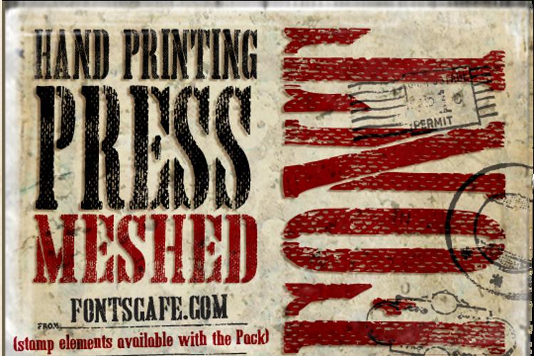 Hand Printing Press Meshed Font