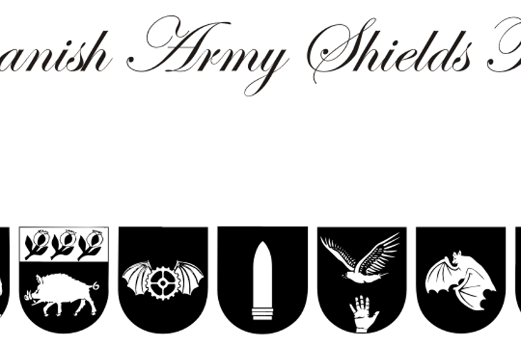 Spanish Army Shields Two Font