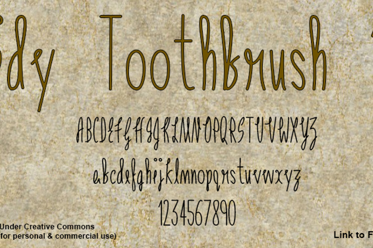 Tidy Toothbrush 101 Font