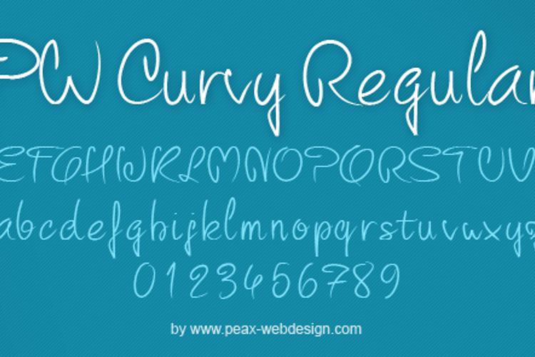 PW Curvy regular script Font