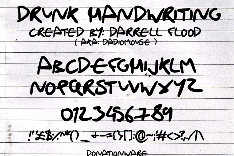 Drunk Handwriting Font